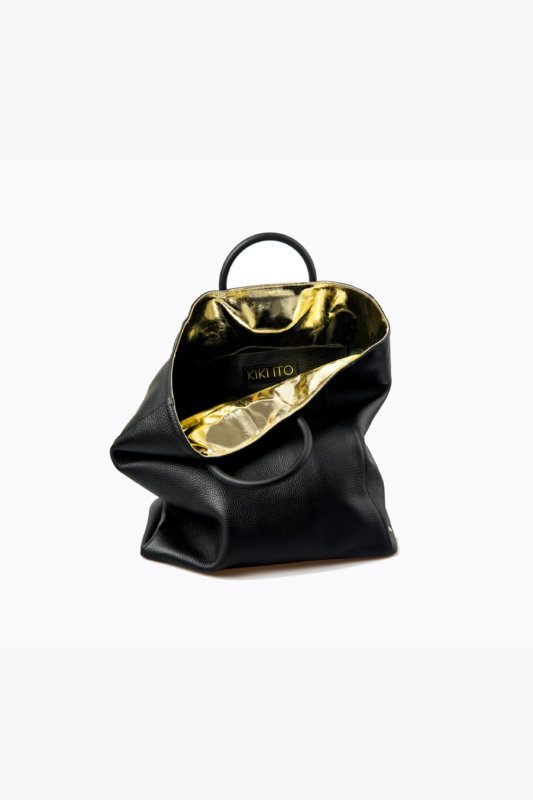 Kikiito Fukuro Black Handbag crafted from buttery soft cowhide, with a chic metallic gold calf leather collar, the Fukuro tote is spacious enough for your daily essentials yet stylish enough to take you from day to night.