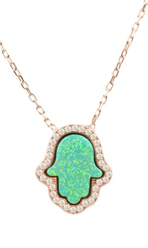 Hamsa Green Opalite Necklace Rose Gold. A modern take on an ancient amulet, this hamsa necklace is great for everyday styling.