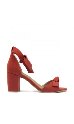 Estela Vegan Red Sandals. Middle block­-heeled sandal peep toe and ankle tie on ecological micro-suede. Upper: Ecological suede microfiber. Closure: Ankle and toe strap-ribbon. Lining: Breathable and anti-allergy microfiber, CO2 free manufacturing system. Insole: Paperboard agglomerate, microfiber lined. Heel: 2.95 in = 7,5 cm. Outsole: Gum rubber. Read and shop Here for more sustainable style