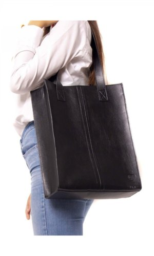 NOEMI - Black Tote With Small Pocket