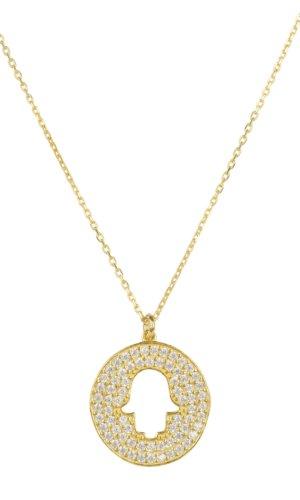 Hamsa Open Disc Pendant Necklace Gold