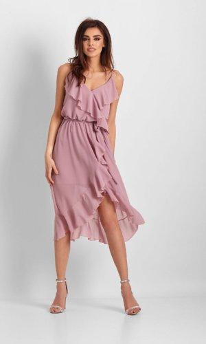 Ivon Cocktail Strappy Dress- Floral Pink