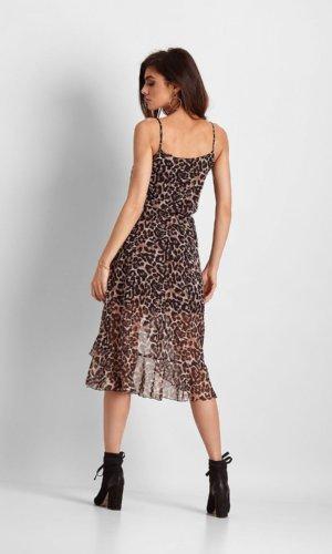 Ivon Cocktail Strappy Dress-Leopard Print