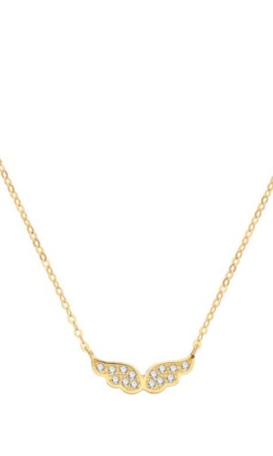 Genuine 9CT Yellow Gold CZ Wings Necklace 1.2 Grams - Gift Boxed