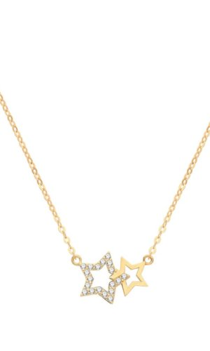 Genuine 9CT Yellow Gold Necklace - Double Star Necklet - Gift Boxed