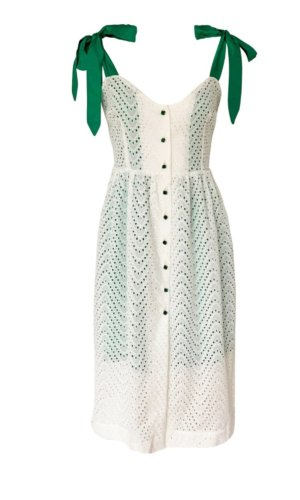 White Summer Cotton Dress with Green Straps and Buttons. Introduce