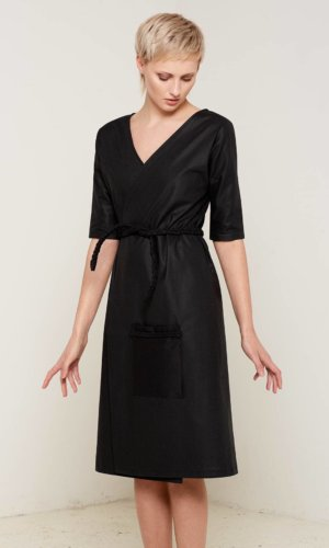Antonia Wrap Dress- Black