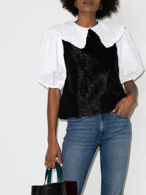 GANNI jacquard-overlay puff-sleeve blouse
