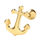GENUINE 9CT YELLOW GOLD ANCHOR CARTILAGE 6MM POST STUD