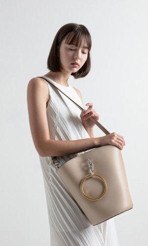 Croc-Effect Large Bracelet Bucket Bag