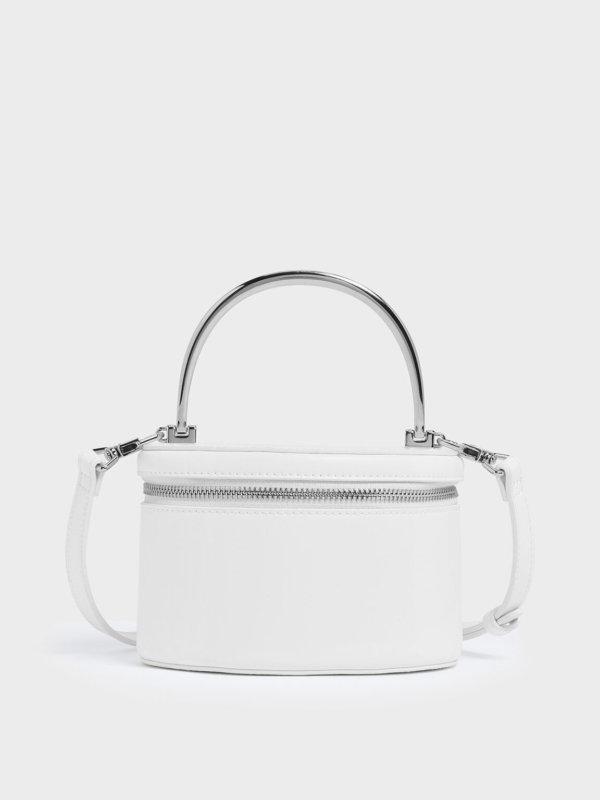 Metal Top Handle Round Structured Bag
