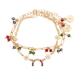 Kate Thornton 'Hope' Bright Crystal Rainbow Bracelet Set in Gold