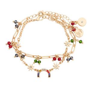 Kate Thornton 'Hope' Bright Crystal Rainbow Bracelet Set in Gold