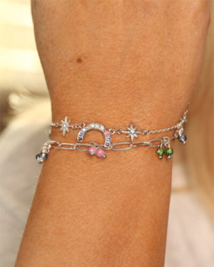Kate Thornton 'Hope' Pastel Crystal Rainbow Bracelet Set in Silver