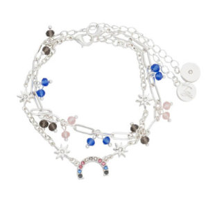 Kate Thornton 'Hope' Pastel Crystal Rainbow Bracelet Set in Silver