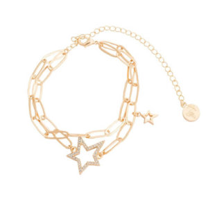 KATE THORNTON 'STARRY NIGHT' GOLD CRYSTAL DOUBLE STAR BRACELET
