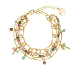 KATE THORNTON 'RAINBOW TROPICS' GOLD TRIPLE LAYERED BRACELET