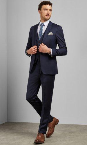 Debonair Plain Wool Slim Fit Trousers