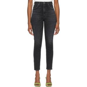 AGOLDE Black Pinch Waist Ultra High-Rise Skinny Jeans
