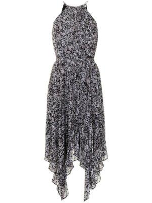 Michael Michael Kors floral pleated handkerchief-hem dress - Black