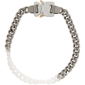 1017 ALYX 9SM Silver Metal and Nylon Chain Necklace
