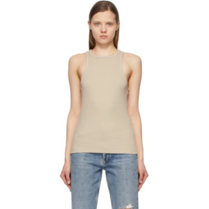 AGOLDE Beige Rib High Neck Tank Top