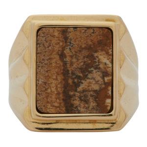 Bottega Veneta Gold Jasper Stone Ring