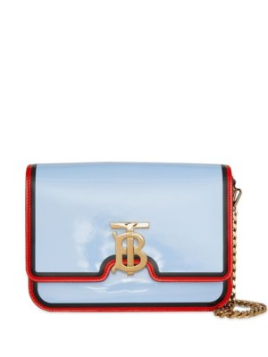 Burberry Small Painted Edge Leather TB Bag - Blue