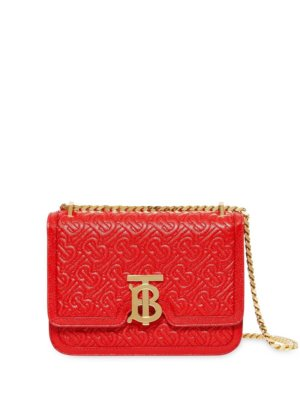Burberry Small Quilted Monogram Leather TB Bag - Red