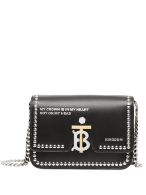 Burberry Small Studded Montage Print Leather TB Bag - Black