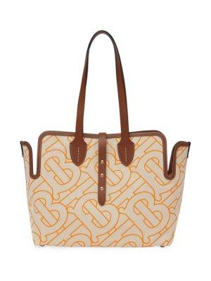 Burberry medium monogram-pattern tote bag - Neutrals