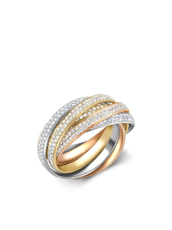 Cartier 18kt rose, yellow and white gold Present Day Trinity diamond ring