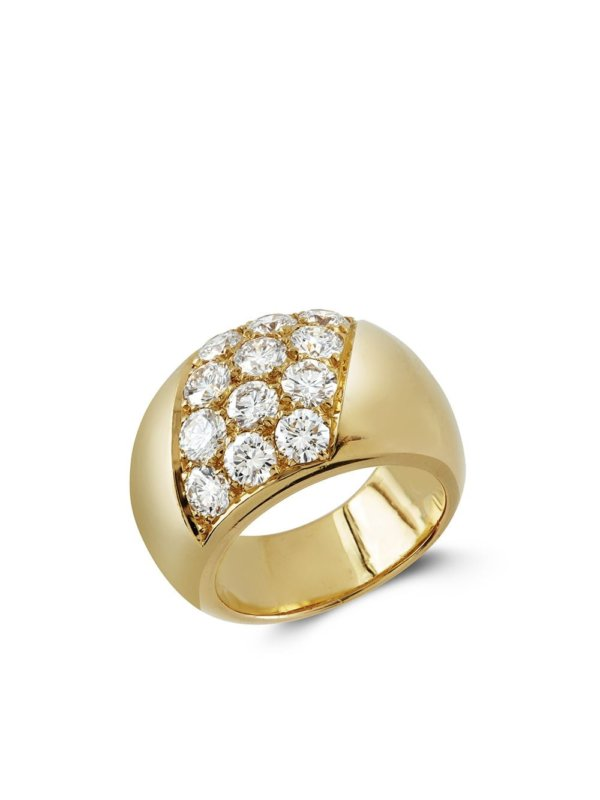 Cartier 1961 18kt yellow gold Present Day bombé diamond ring