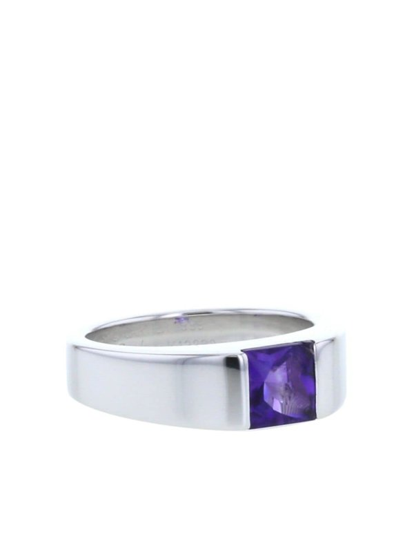 Cartier 2000s pre-owned white gold small Tank amethyst ring - White,purple