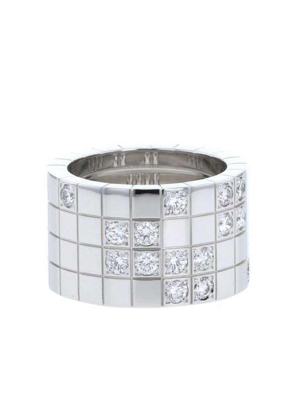 Cartier 2010s pre-owned 18kt white gold diamond Lanière large ring