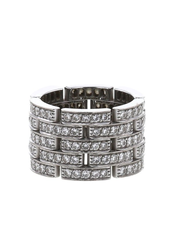Cartier 2010s pre-owned white gold Maillon Panthère large model diamond ring - Silver