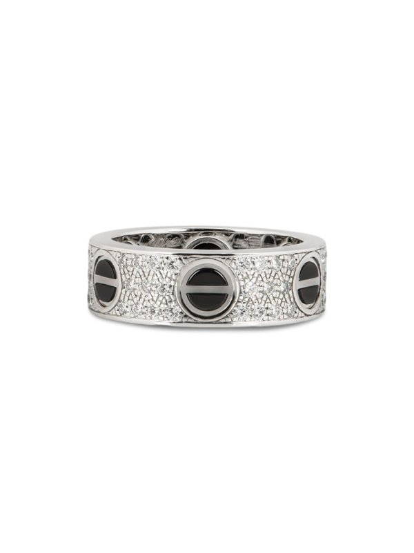 Cartier pre-owned 18k white gold Love diamond and ceramic ring - Silver