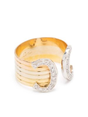 Cartier pre-owned 18kt gold diamond double C ring