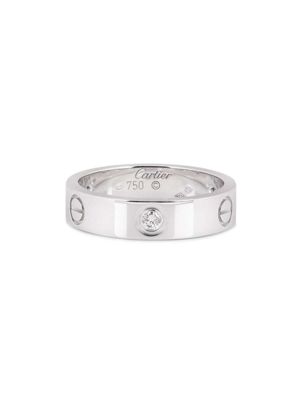 Cartier pre-owned 18kt white gold Love half-diamond ring - Silver