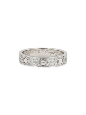 Cartier pre-owned 18kt white gold pave diamond ring - Silver