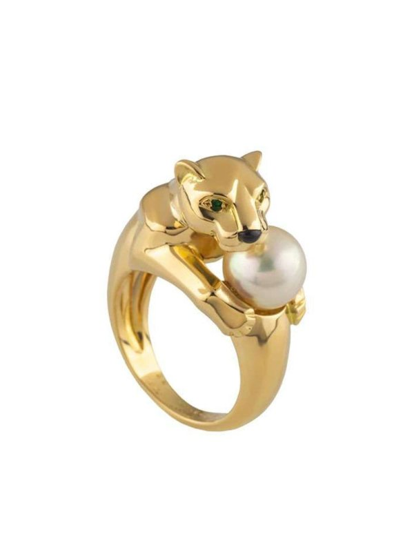 Cartier pre-owned 18kt yellow gold Panthère pearl ring