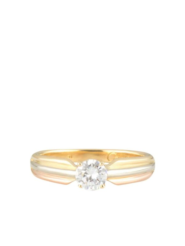 Cartier pre-owned 18kt yellow, rose and white gold Trinity diamond ring - Tri Colour Gold