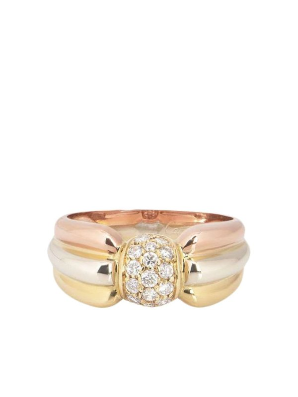 Cartier pre-owned 18kt yellow, white and rose gold Trinity diamond ring - Tri Colour Gold