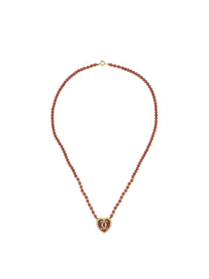 Cartier pre-owned heart charm beaded necklace - Red