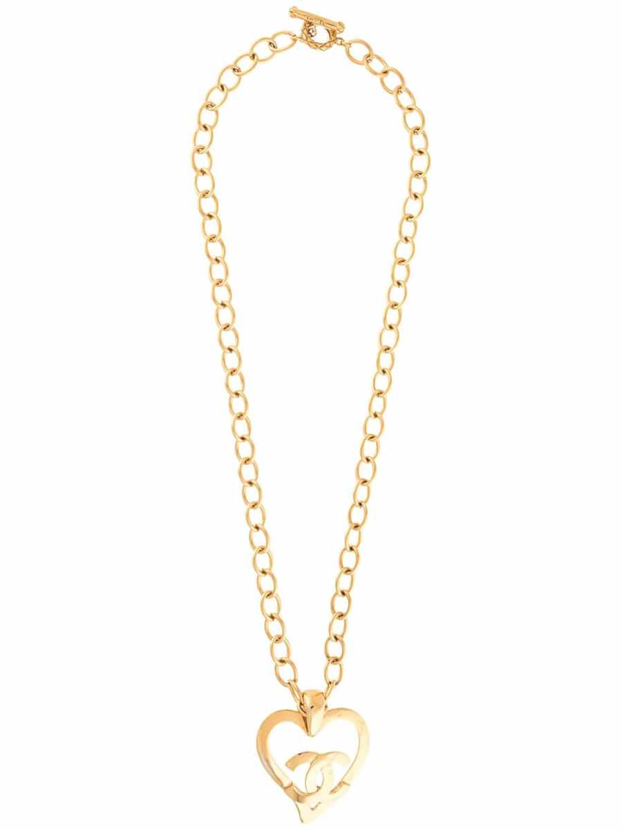 Chanel Pre-Owned 1995 CC heart motif chain necklace - Gold