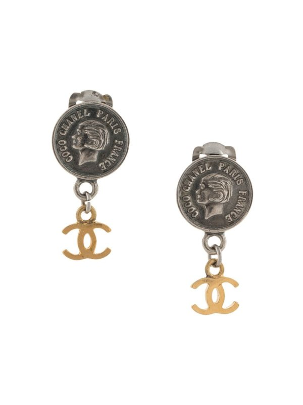 Chanel Pre-Owned 1996 Mademoiselle CC dangle clip-on earrings - Silver