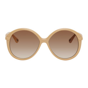 Chloe Beige Braided Billie Round Sunglasses