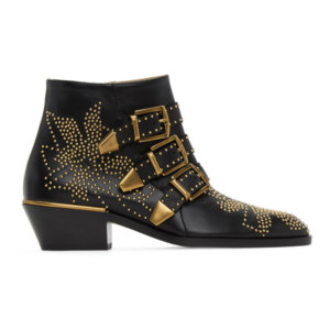 Chloe Black and Gold Susanna Boots