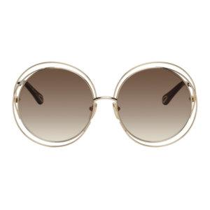 Chloe Gold Carlina Round Sunglasses