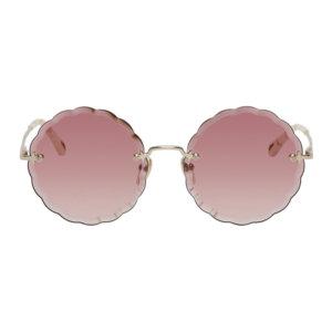 Chloe Gold Rosie Round Sunglasses